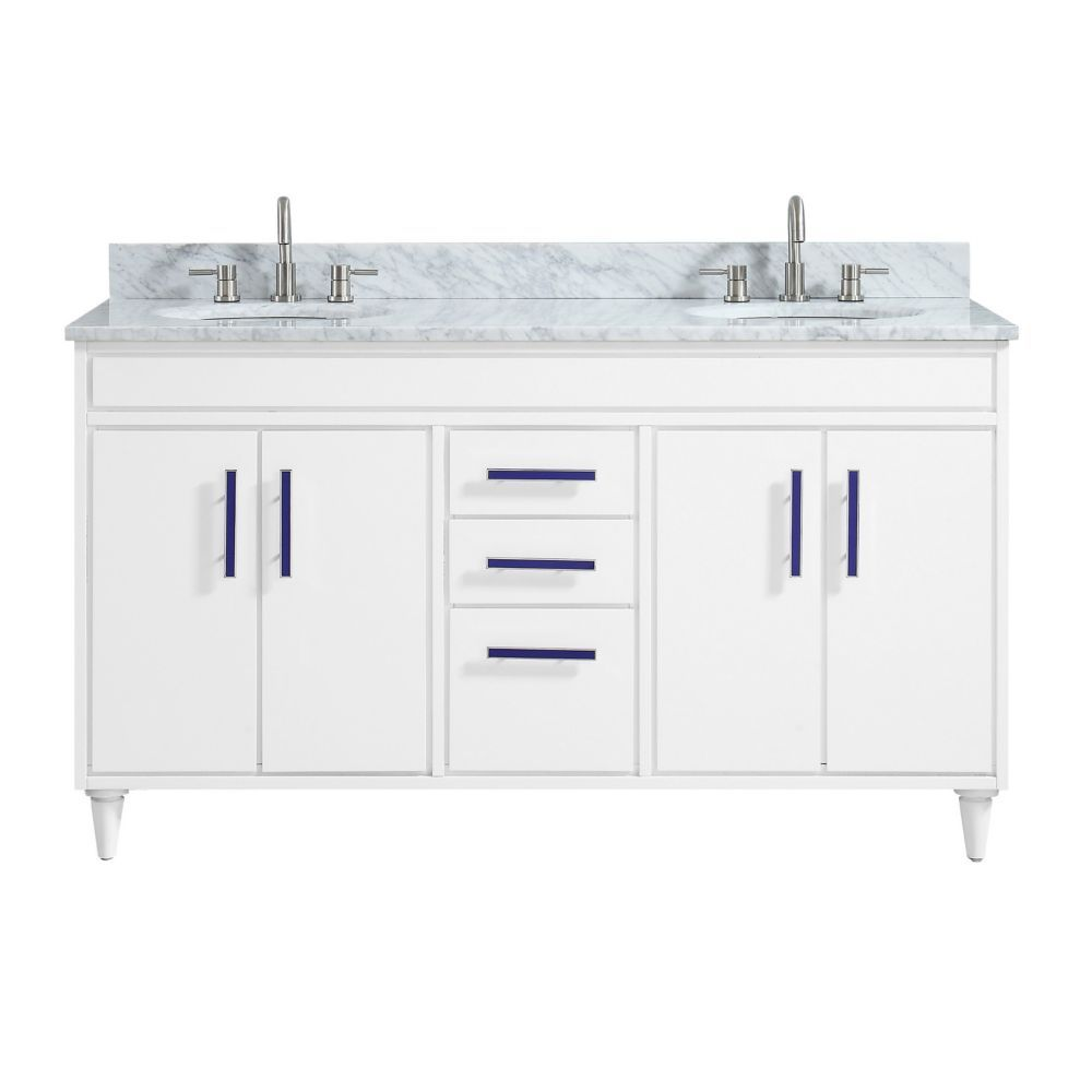 Layla 61 Inch Vanity Combo In White With Carrera White Marble Top