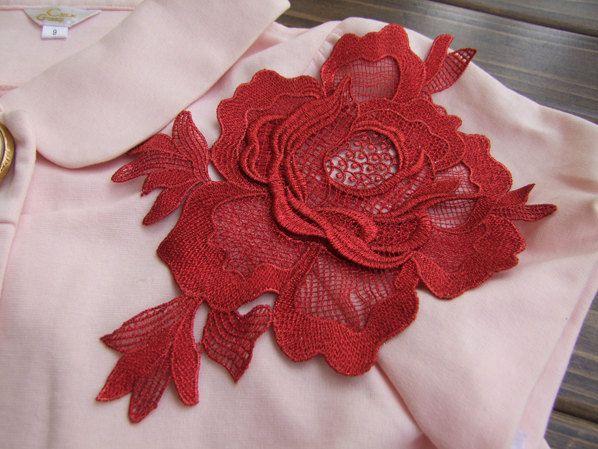 Red Rose Applique 3D Luxury Rosette Applique for by lacetime
