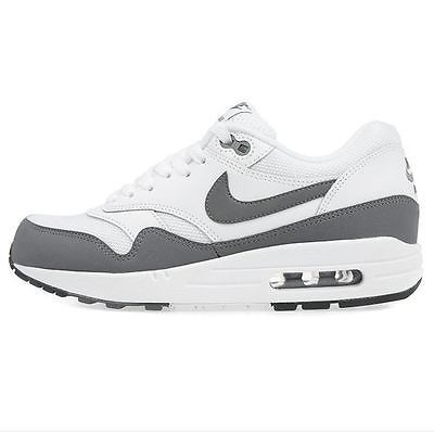 best service 58a2a cf166 Nike Air Max 1 Essential Mens 537383-126 White Dark Grey Running Shoes Size  10.5