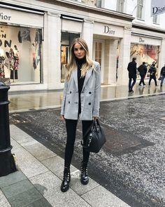 Photo of 10 idee di outfit autunnali per l'ufficio! Qui giacca grigia + magro nero # nero # nero …