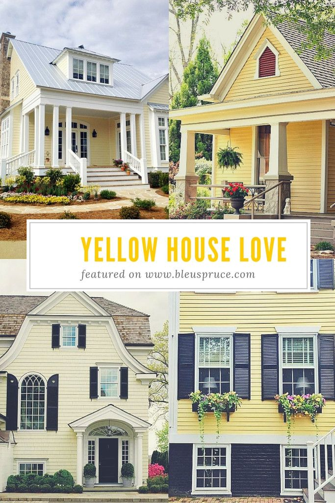 Yellow house love blue shutters yellow houses and blue grey for Exterior yellow house paint