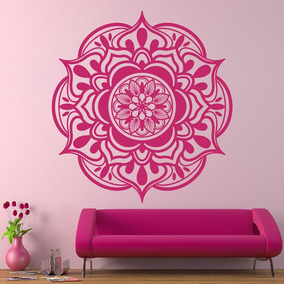 Bohe Mandala Flower Wall Paper Decor Yoga Studio Vinyl: Wall Decal Mandala. Yoga Studio Decor. Boho Decal