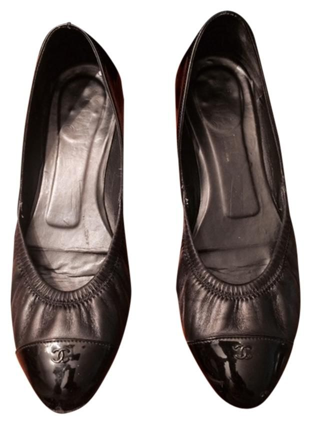 b9c909b26dcc Chanel Black Stretchy Ballet Patent lambskin W cc Cap Toe (38 12)
