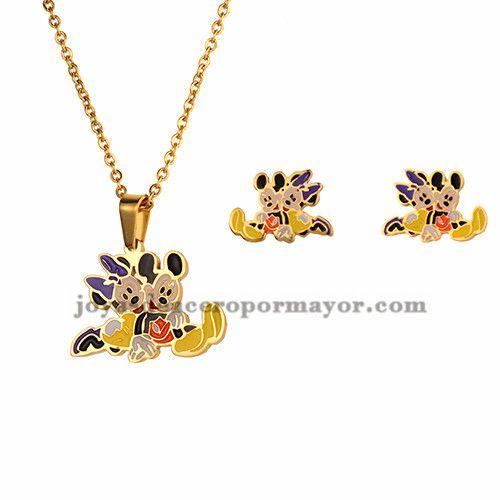 juego collar y aretes de dibujos animados ratas en acero dorado