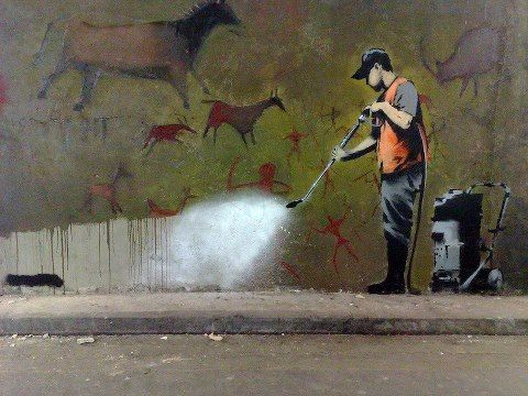 over paint LOVE this!! - A Banksy classic! ^_^