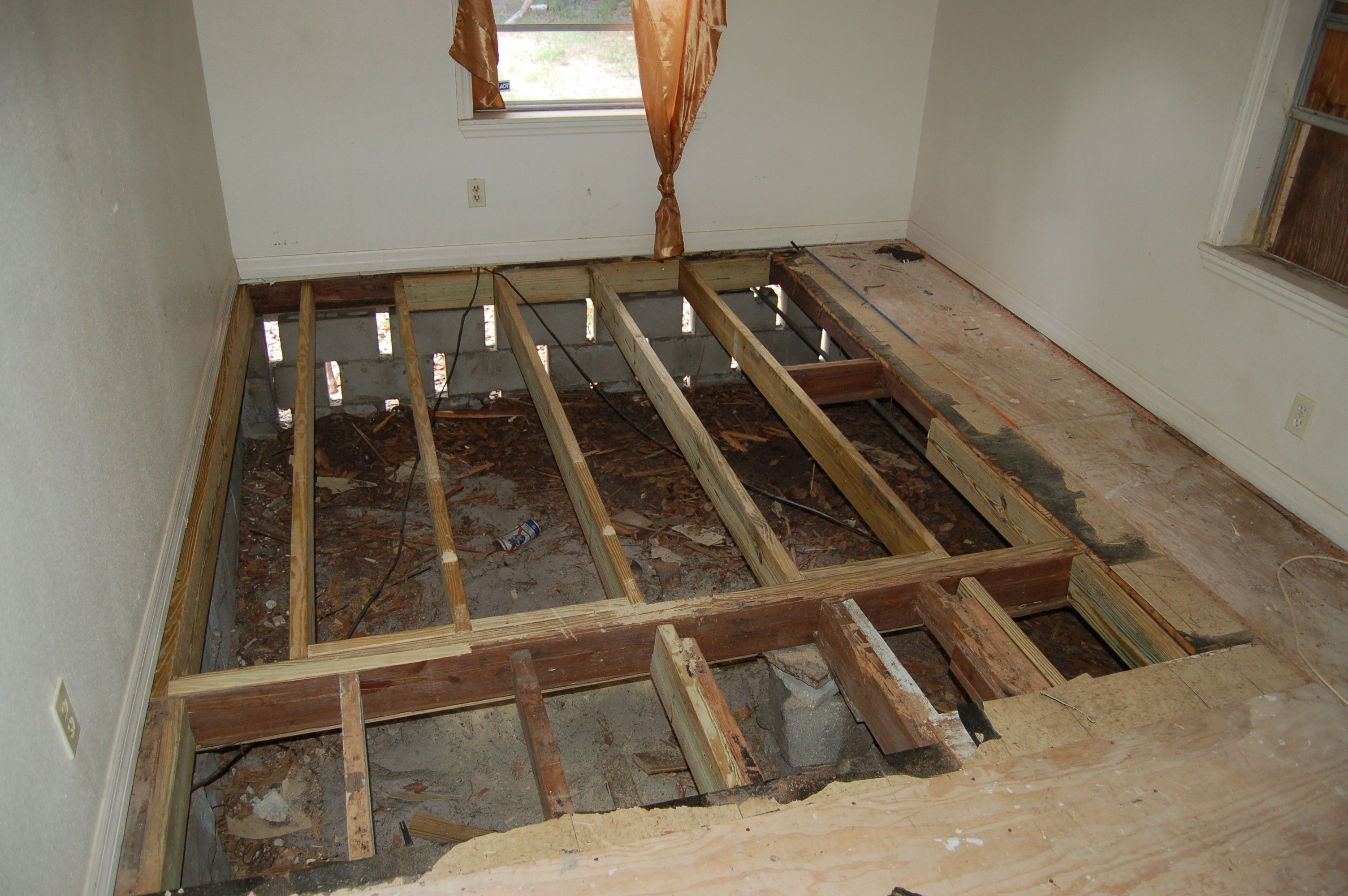 After Damaged Subfloor Replaced Now A Layer Of Sturdy Plywood