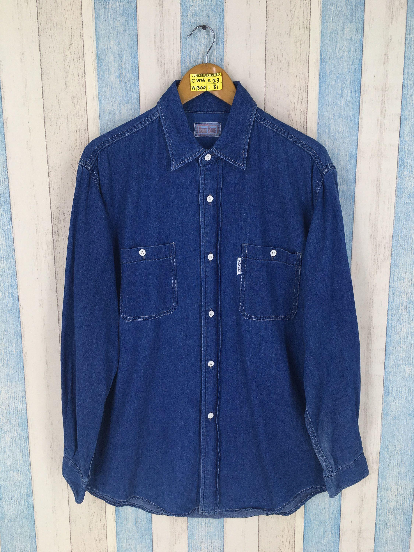 2154038e334 BLUE BLUE Denim Shirt Large Vintage Japanese Denim Union Made Style  Buttondown Yohji Comme Des Western