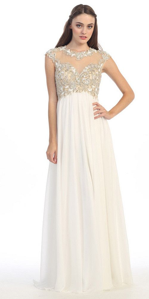 Cap Sleeves Illusion Back Lace and Chiffon Mother of The
