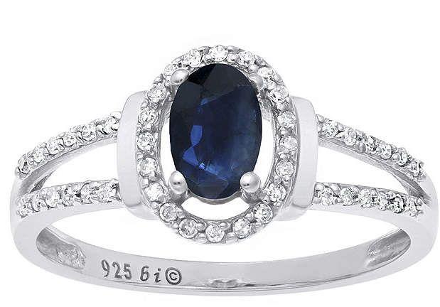 Fine Jewelry Genuine Sapphire and 1/8 CT. T.W. Diamond10K White Gold Oval Ring 7ZROSpg