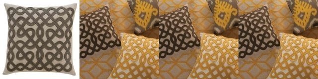 Dwell Studio Labyrinth pillow in grey, yellow or orange, $89