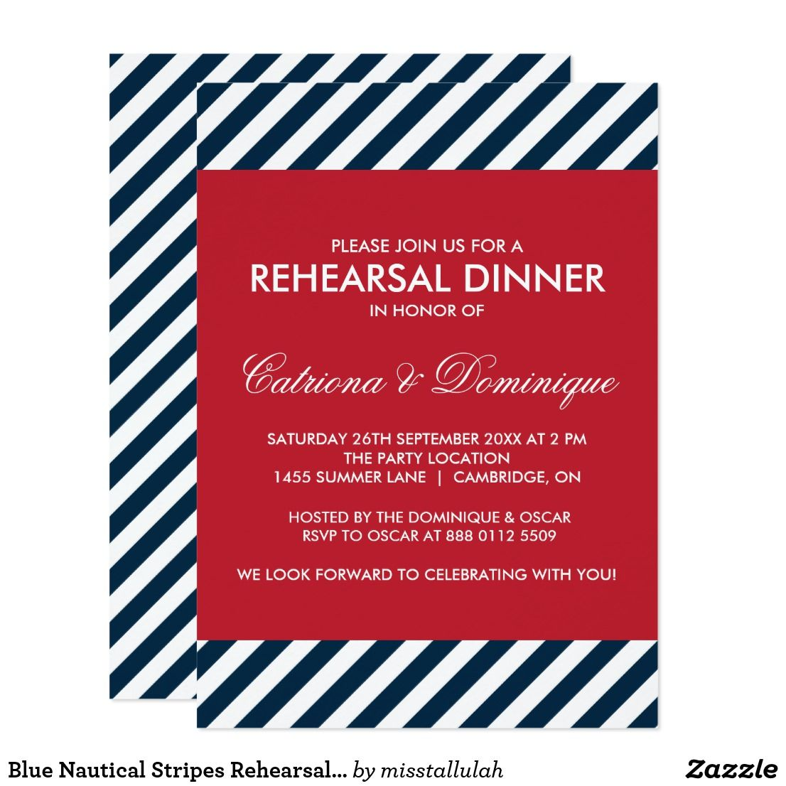 Blue Nautical Stripes Rehearsal Dinner Invitation | Wedding ...