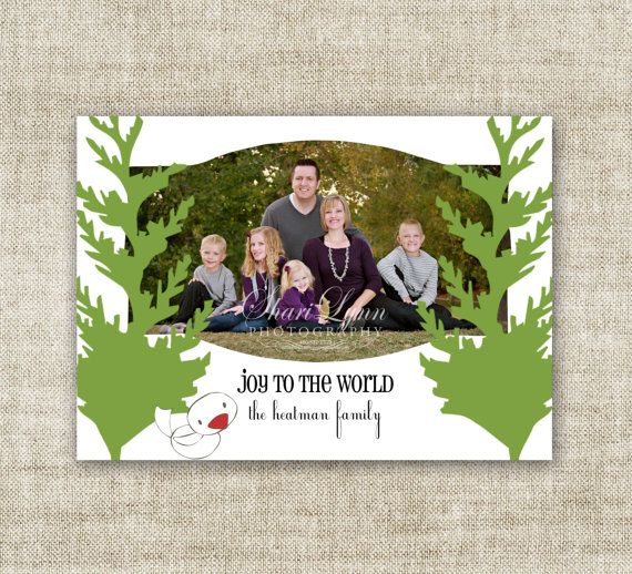 """christmas card holiday greetings family picture card  """"joy to the world""""  @Cardtopia Designs"""