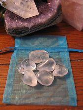New Natural Clear Quartz Crystal Tumbled Stone Set of 6 Stones w/Bag
