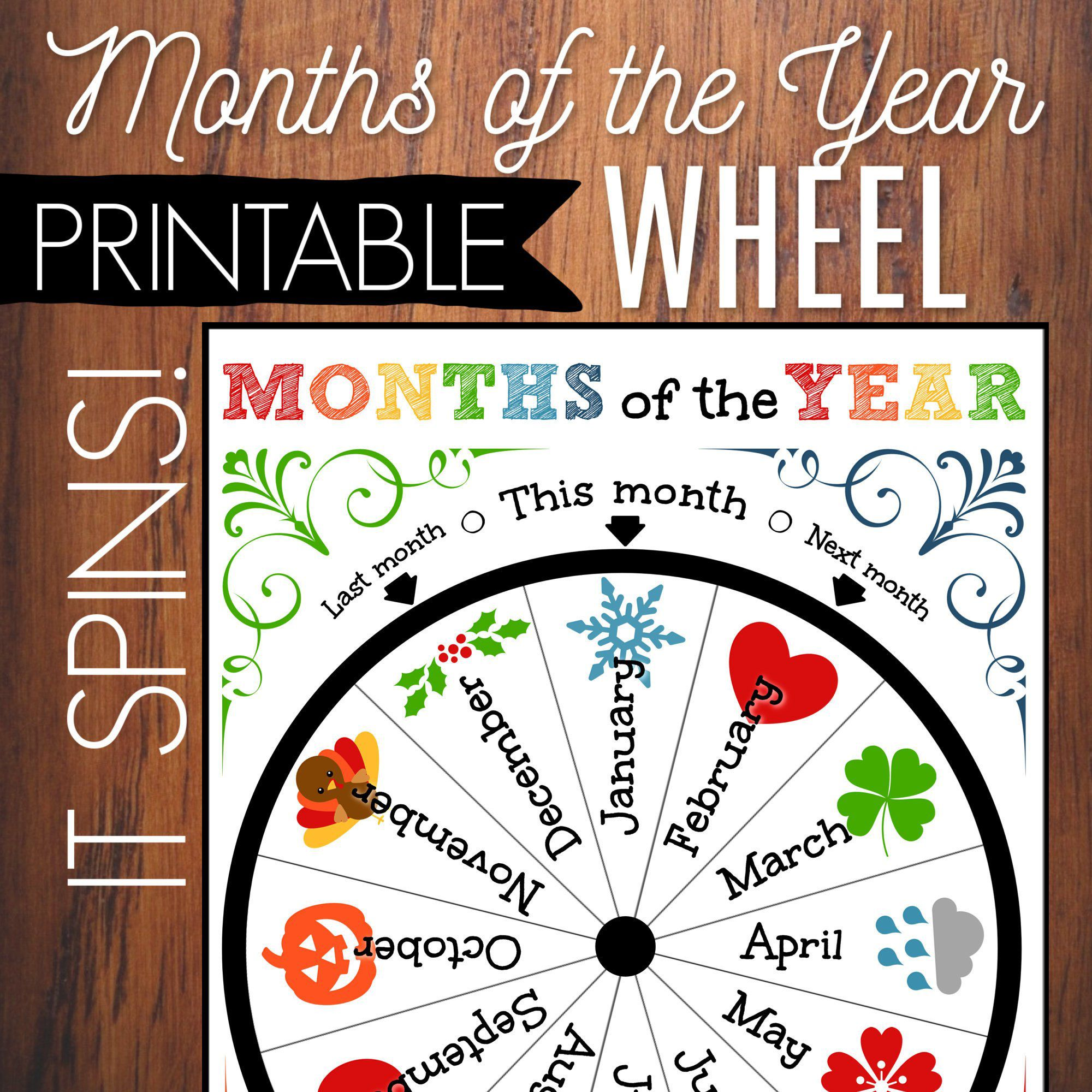 Months Of The Year Printable Wheel Kids Circle Time
