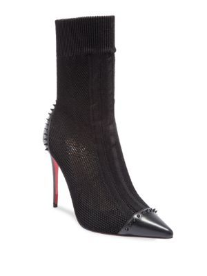 15ee1d1ddc1 CHRISTIAN LOUBOUTIN Dovi Dova 100 Spiked Cap Toe Knit Mesh Booties.   christianlouboutin  shoes  boots