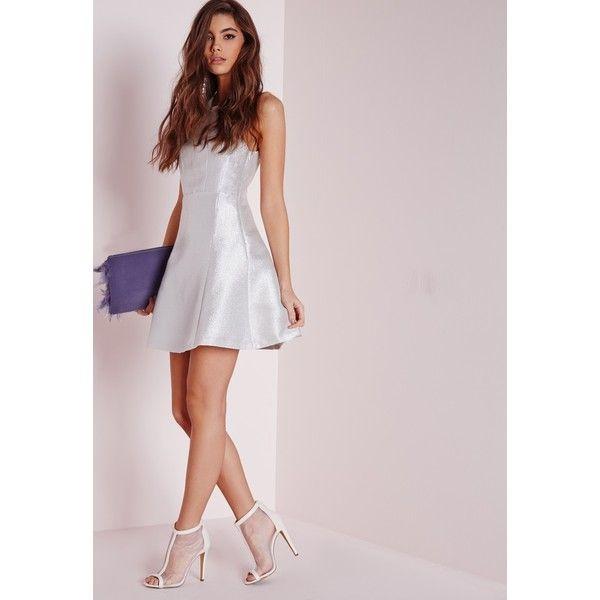 Glitter Skater Dress Silver Dresses Evening Dresses Skater Dresses ❤ liked on Polyvore featuring dresses, pink skater dress, shimmer dress, silver glitter dress, cross back skater dress and silver metallic dress