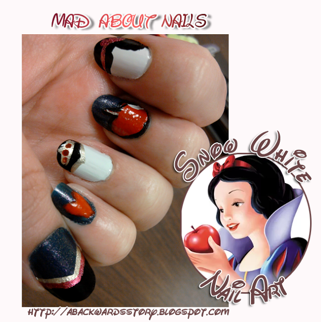 A Backwards Story: {Mad About Nails} Snow White Nail Art