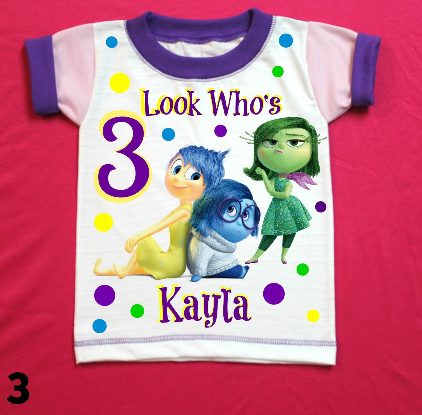 Inside out Birthday Girl Shirt Personalized with child name and age. by FantasyKidsParty on Etsy https://www.etsy.com/listing/482437329/inside-out-birthday-girl-shirt