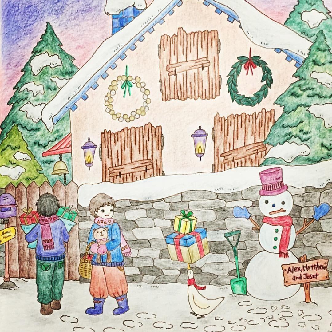 「クリスマスの贈りもの」 冬のうちに塗っておきたかった一枚です。ちょっと時期はずれですが…(*^^*) #大人の塗リ絵 #ロマンティックカントリー