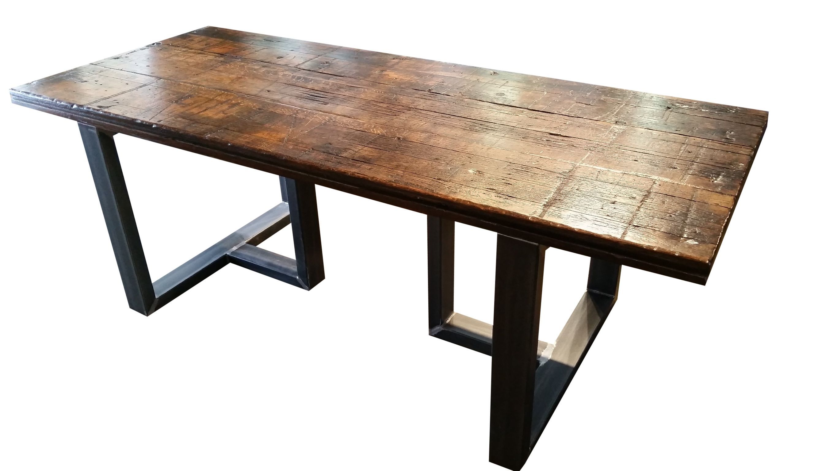 Custom made reclaimed wood dining table modern rustic for Wood top metal legs coffee table