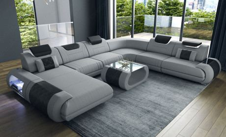 Fabric Sectional Sofa Ventura Xl With Lights In 2020 Large Sectional Sofa U Shaped Sectional Sofa Sofa