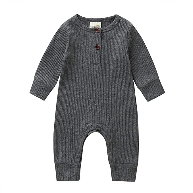 Newborn Infant Baby Boys Girls Long Jumpsuit Romper Bodysuit Clothes Outfit Suit