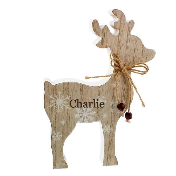 Personalised Reindeer Wooden Christmas Decoration with Name Wooden