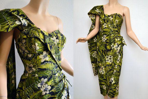 51ca38ada07b Vintage 50s ALFRED SHAHEEN Dress // 1950s Sarong Dress // 50s Strapless  Dress & Train // Hawaiian Bombshell