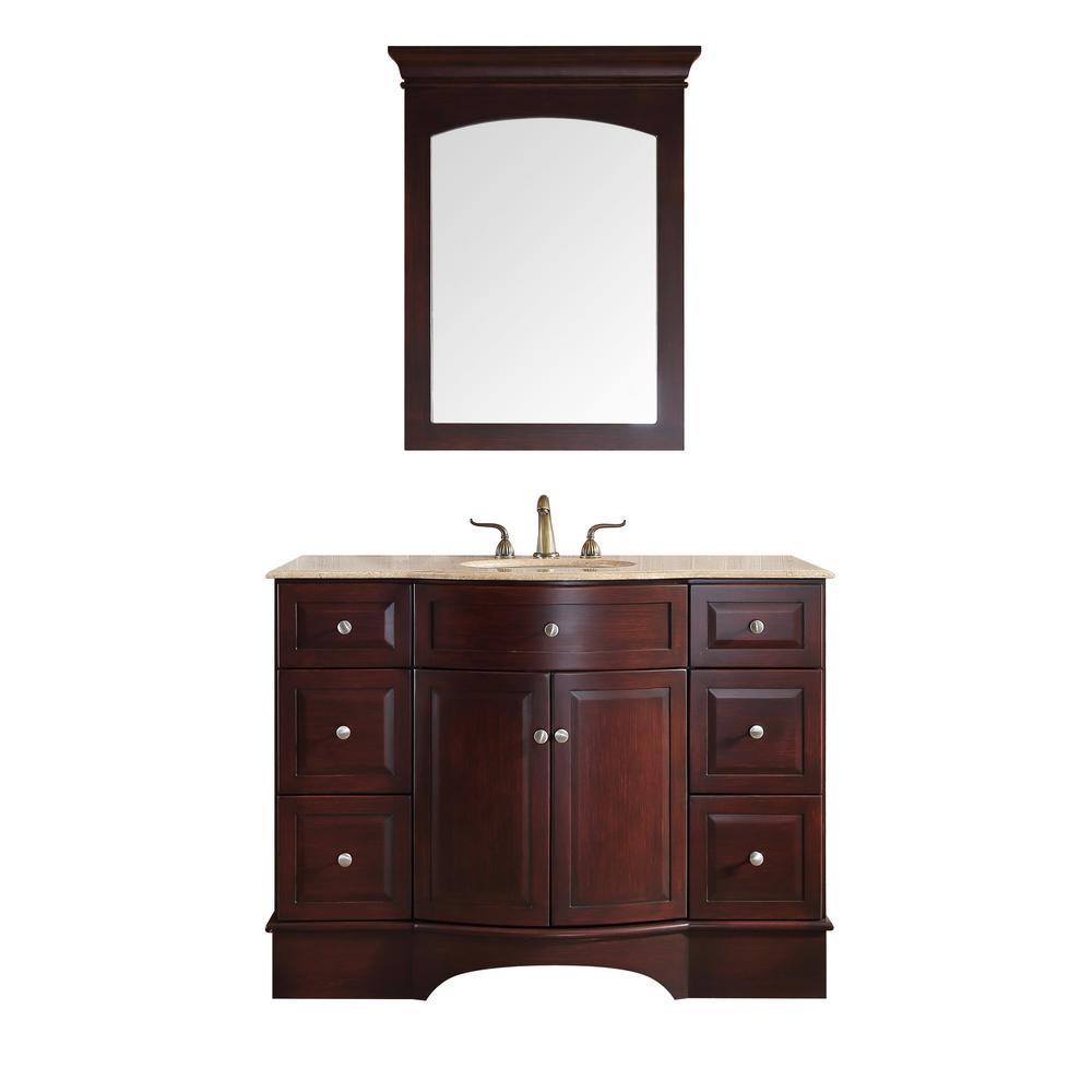Stufurhome Lotus 48 In Vanity In Dark Brown With Marble Vanity Top In Travertine With White Undermount Sink And Mirror Bathroom Vanity Tops Marble Vanity Tops Single Sink Vanity