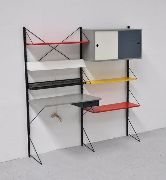 Tjerk Reijenga Enameled Metal Wall Unit for Pilastro c1960