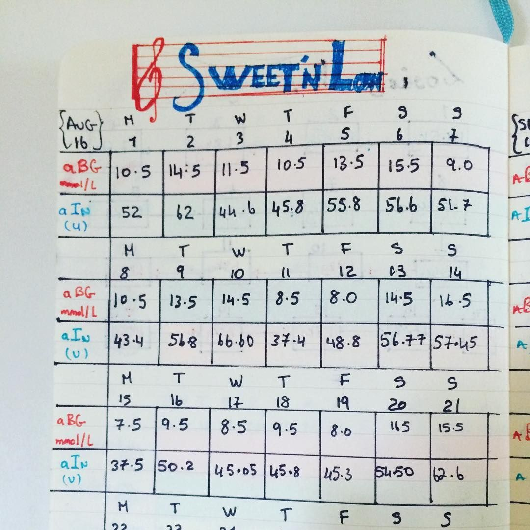 Loving My Bulletjournal For Keeping Track Of Glucose And