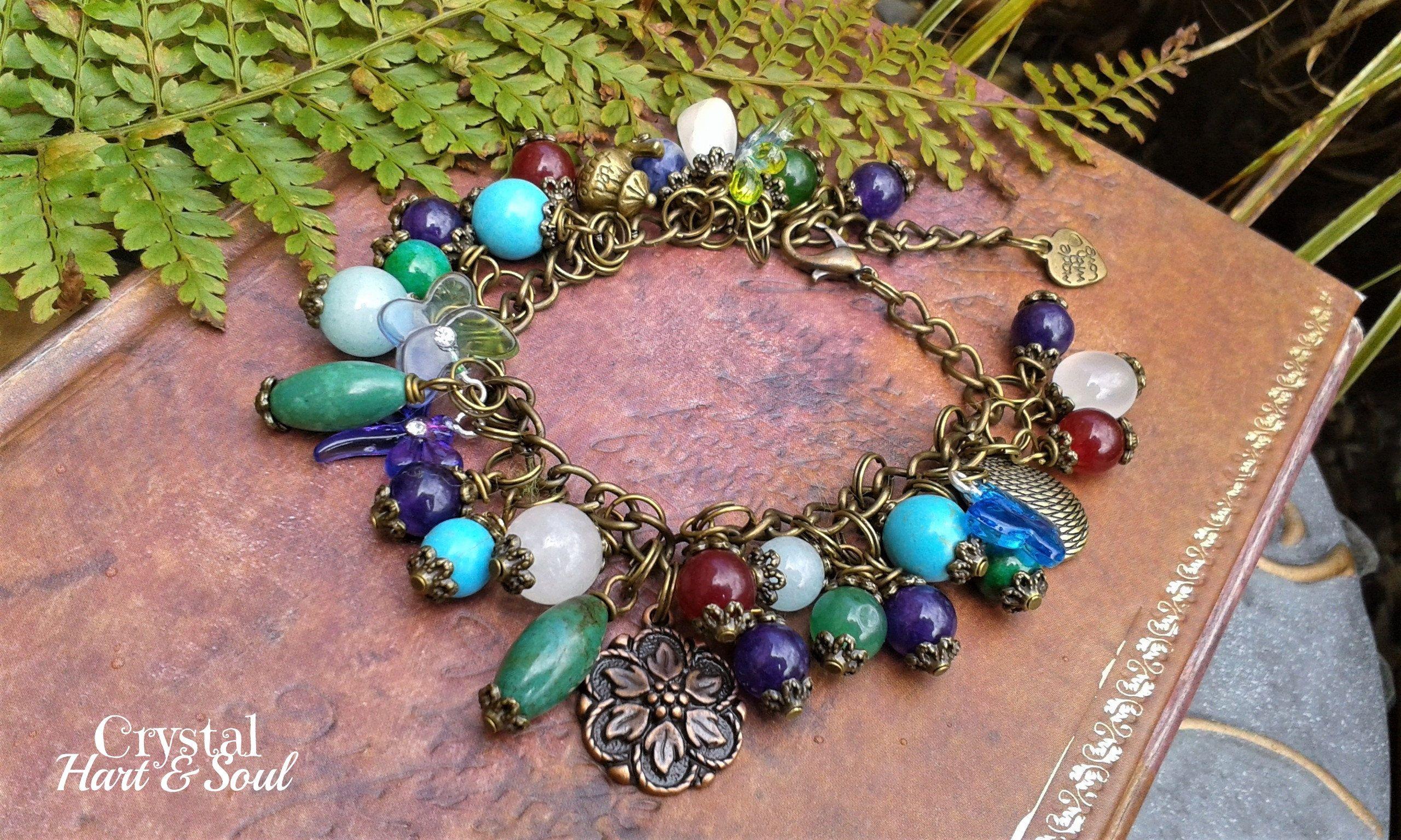 top design mieux choisir mode de vente chaude Gemsone charm bracelet, Bohemian vintage style charm ...