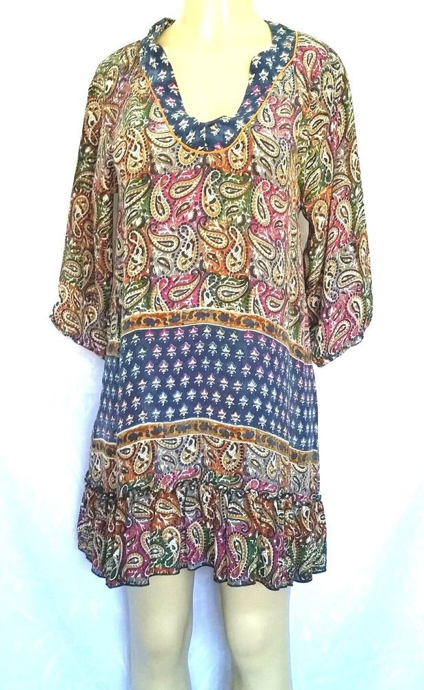 TOLANI Blouse Top Shirt 3/4 Sleeve Dress Tunic Boho Paisley V Neck Silk Multi S #Tolani #ShirtDressTunic #Any