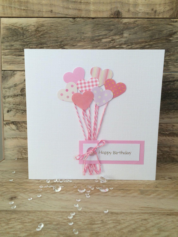 Handmade birthday card u pink heart balloons mum daughter