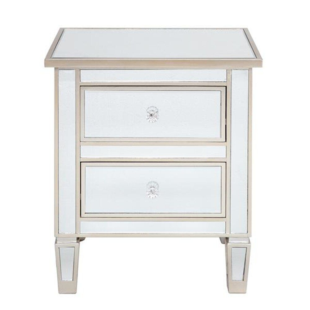 Modern And Contemporary Mirrored 2 Drawers Nightstand Bedside Table Silver Rose Side Table Night Tabl Contemporary Mirror Drawer Nightstand 2 Drawer Nightstand