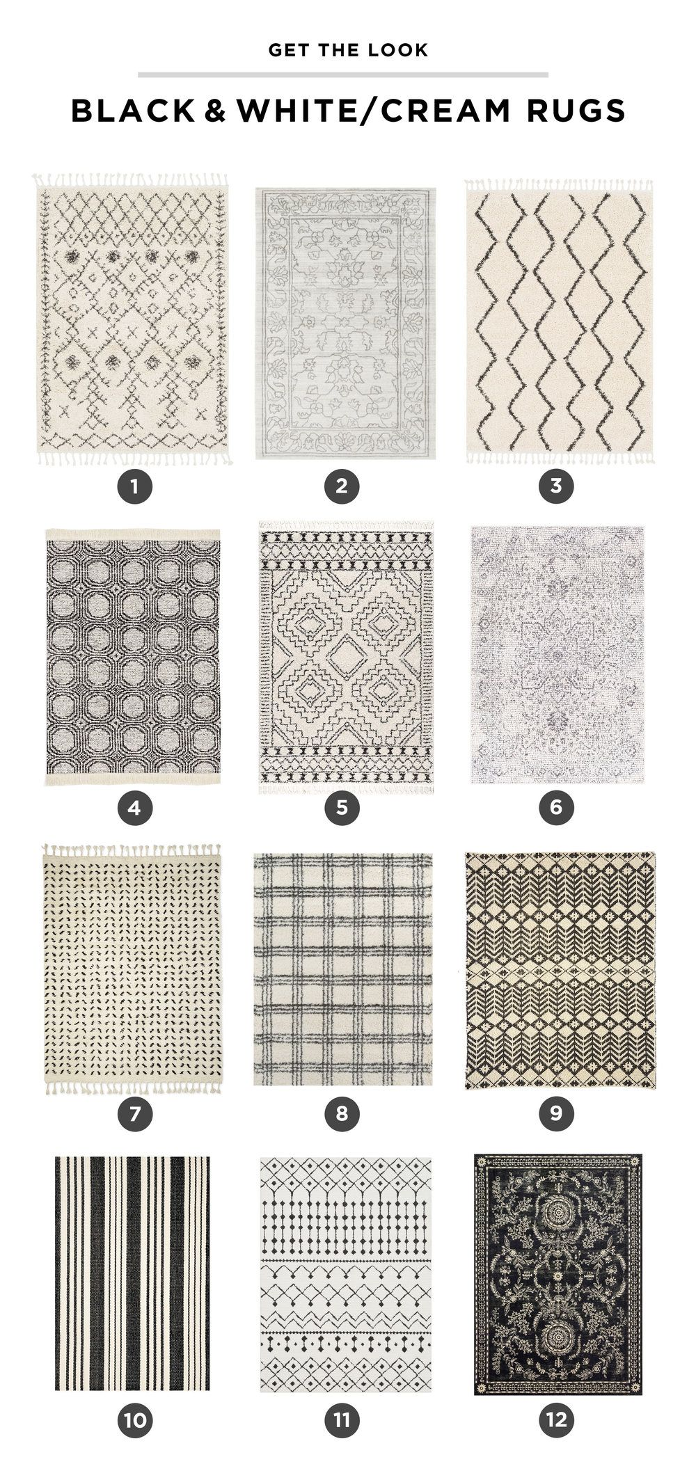 Neutral Rug Round-Up and Ideas: I love the versatility, warmth and texture a rug can bring to a living room. In this blog post, I'm sharing my favorite black and white or cream rugs that will work in any space in your home! #rugs #livingroom