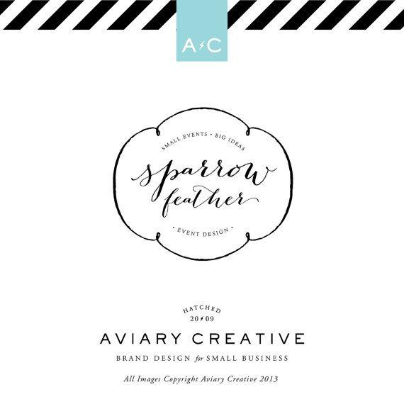 Premade Logo Design Sparrow Feather Events by AviaryCreative, $48.00