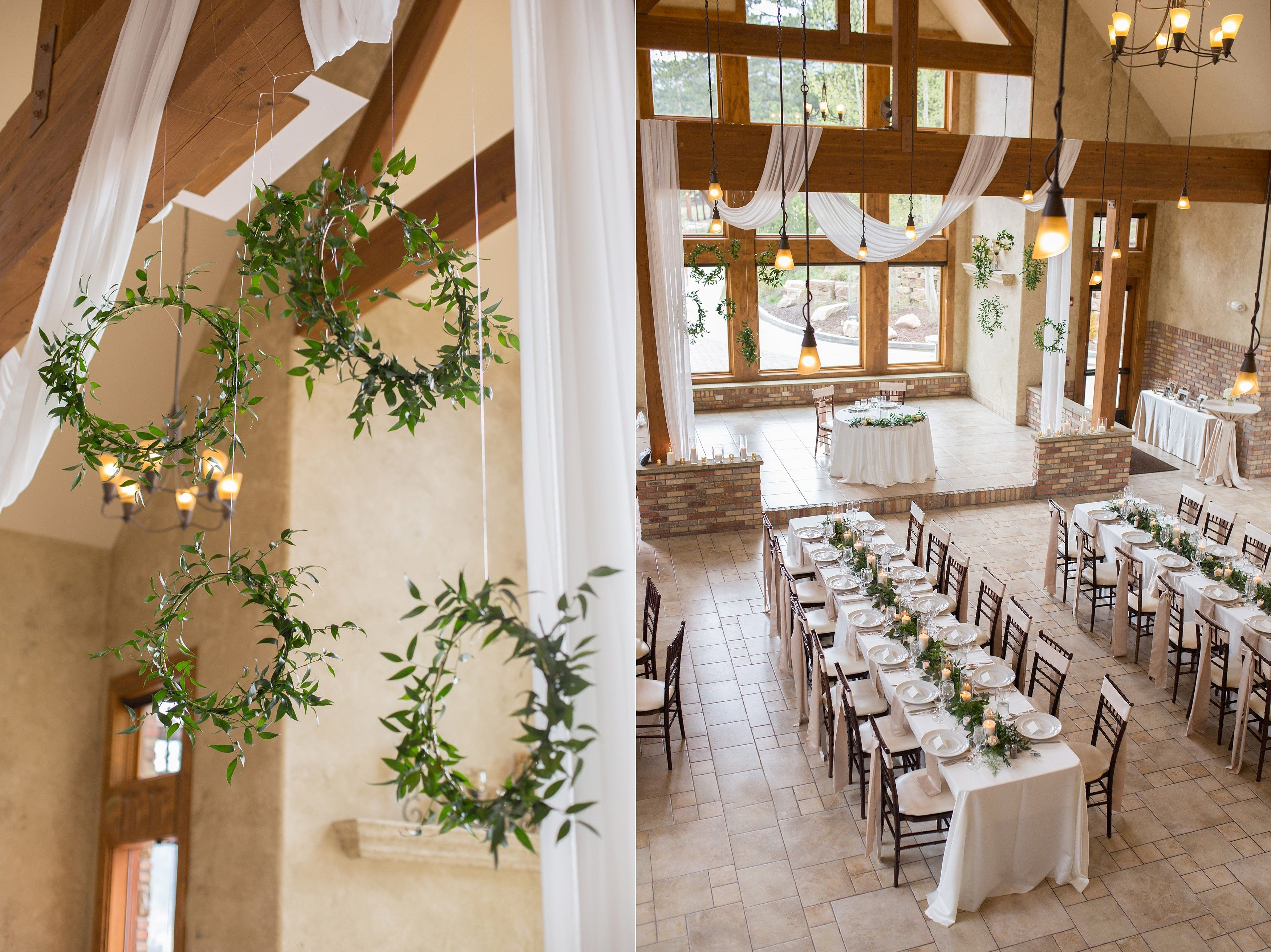 Banquet tables and greenery hoops! jessica & tommy: della terra