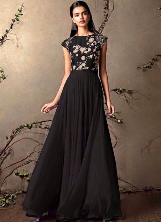 5cfeb39a23f New Black Colour Floor Touch Designer Gown