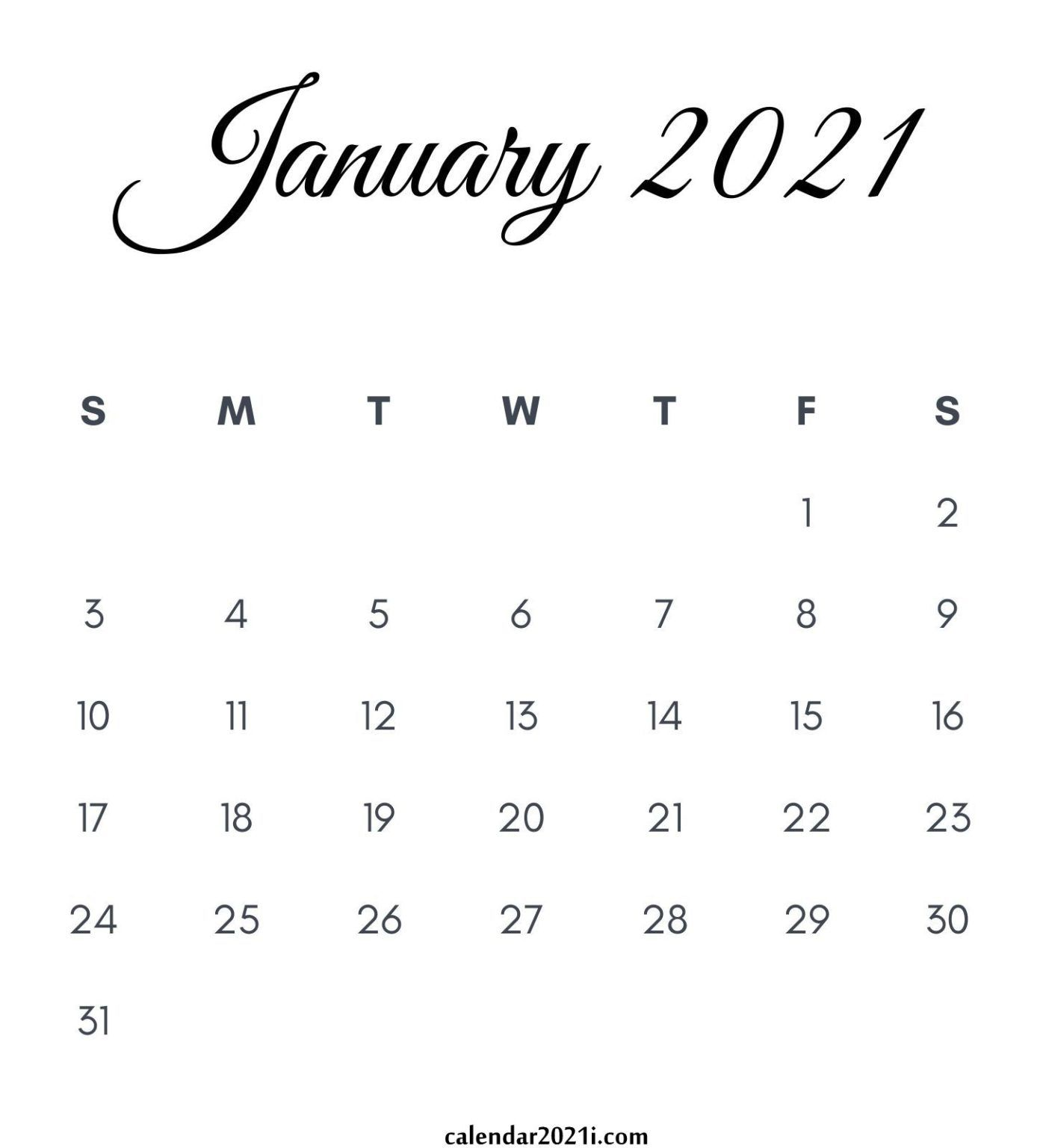 January 2021 Calendar Printable in 2020 | Kalender