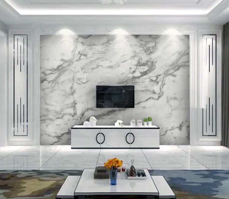 White Marble 3d Photo Vinyl Wallpaper Murals Wall Papers
