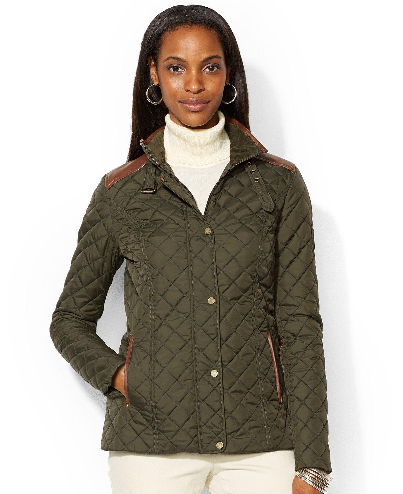 c0c6d2c4eb66 Lauren Ralph Lauren Quilted Snap-Front Equestrian Jacket - Clearance -  Women - Macy's