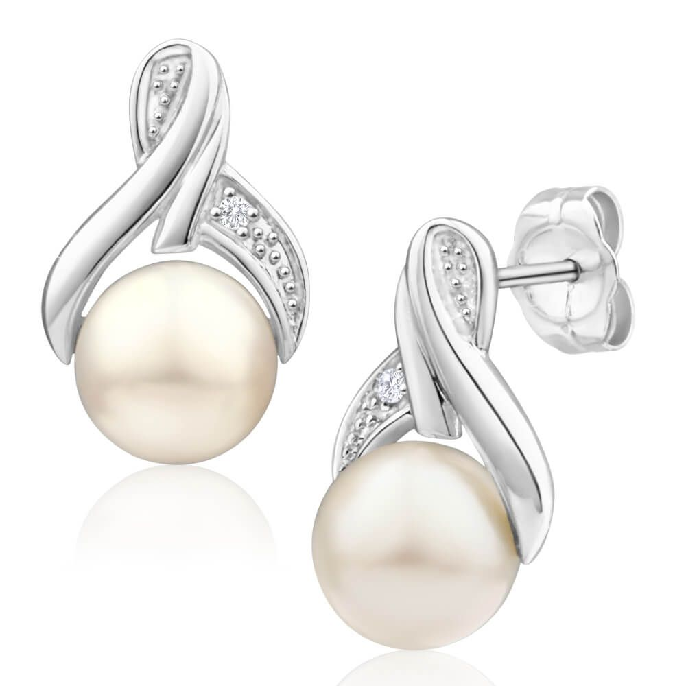 Pearl And Diamond Stud Earrings In 9ct White Gold Image A