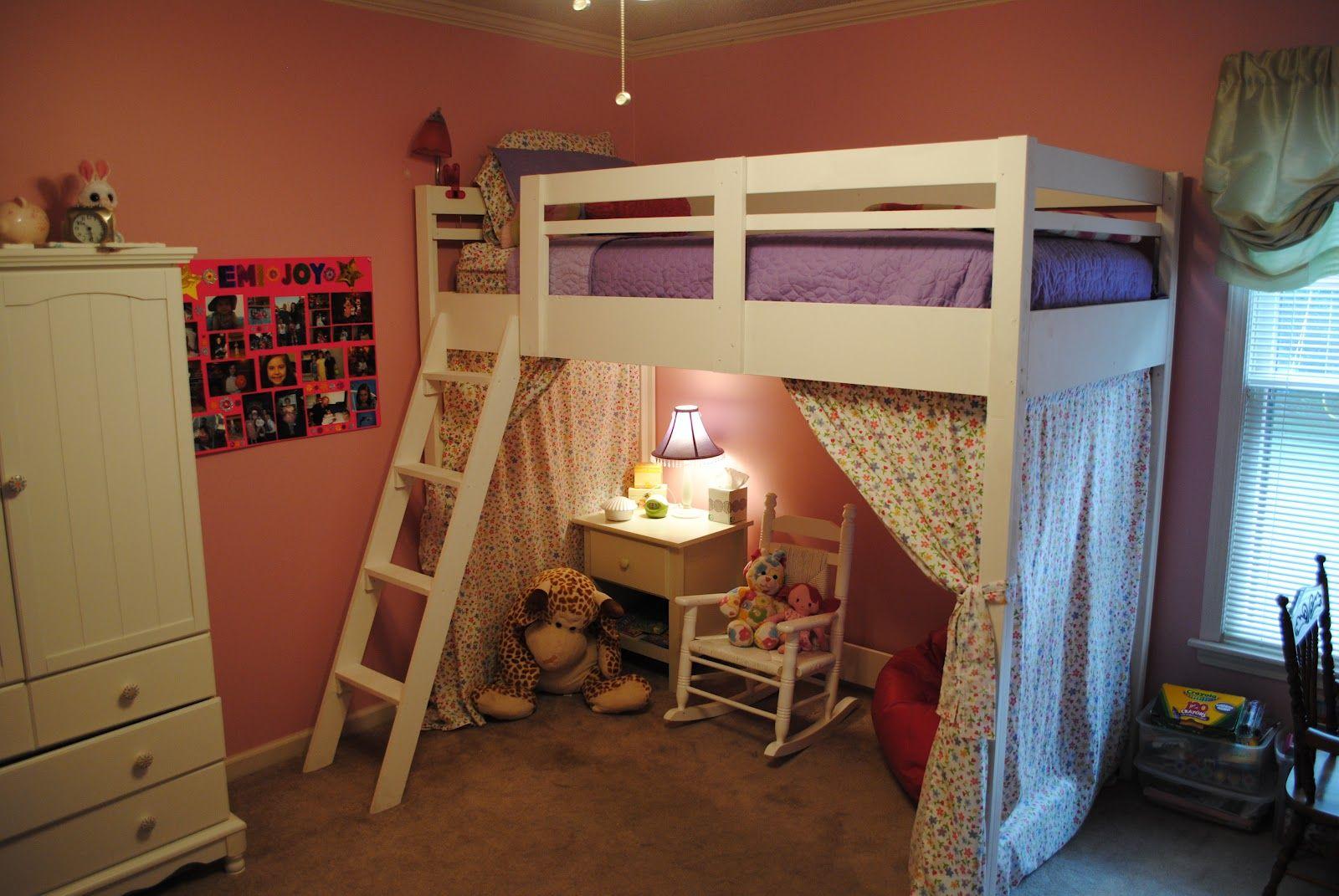 Loft Bed Loft bed, Girls loft bed, Loft bed curtains