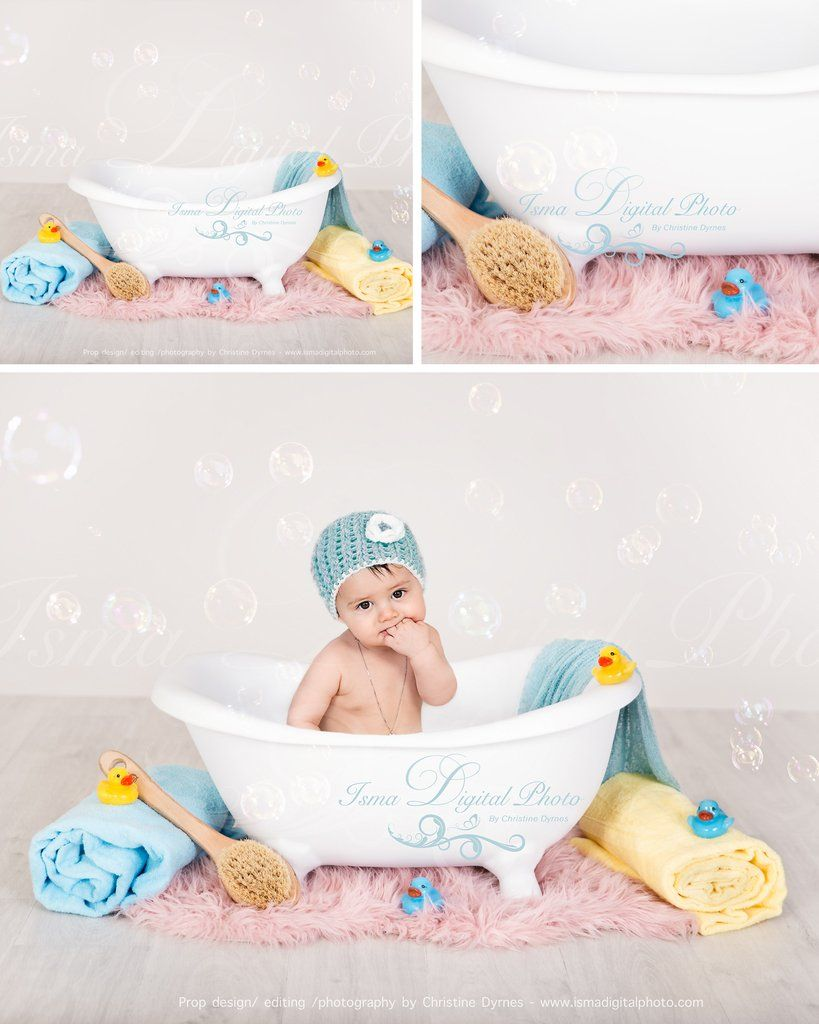 Baby Bathtub - Digital backdrop /background - psd with layers | Baby ...