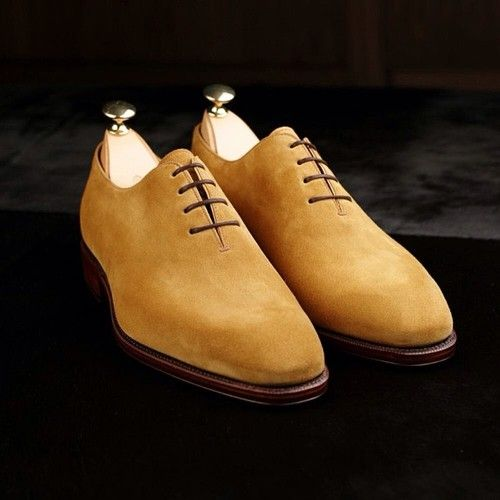 Mens wholecut camel suede oxford dress shoes