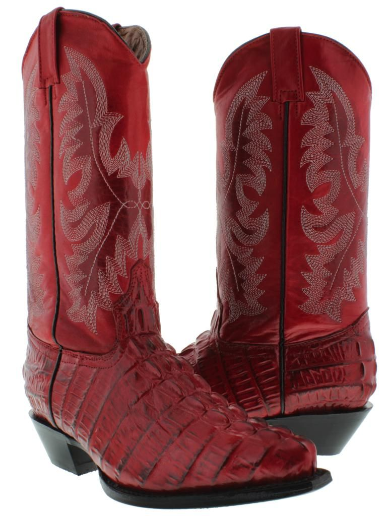 Alligator Boots for Women | Women's Ladies Red Crocodile Alligator ...