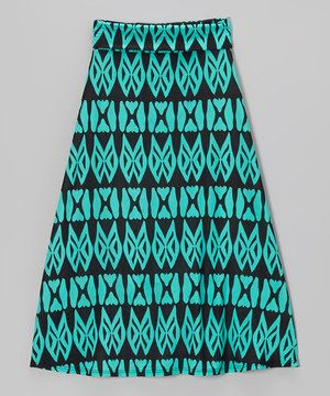 Look what I found on #zulily! Turquoise  Black Geometric Maxi Skirt by Lori  Jane #zulilyfinds