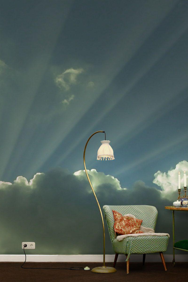 Zimmer im paris-stil gemütlicher gehts nicht fototapete mit wolken  tapette