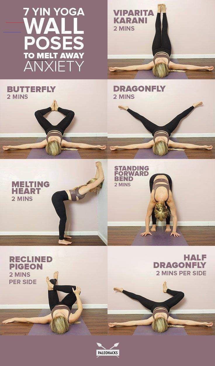 Angst Auf Beruhigende Wegzuschmelzen Wirft Yin Yogawand 7 Soothing Yin Yoga Wall Poses To Melt Away Anxi Relaxing Yoga Easy Yoga Workouts Yin Yoga Poses